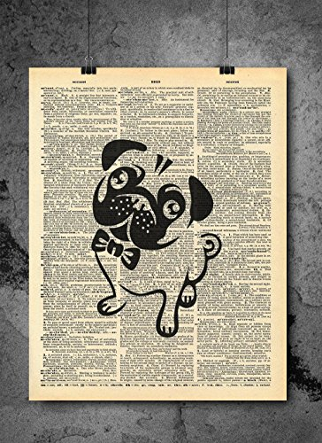 Cute Pug Dog Black Outline In Bowtie Vintage Dictionary Print 8x10 inch Home Vintage Art Abstract Prints Wall Art for Home Decor Wall Decorations For Living Room Bedroom Office -