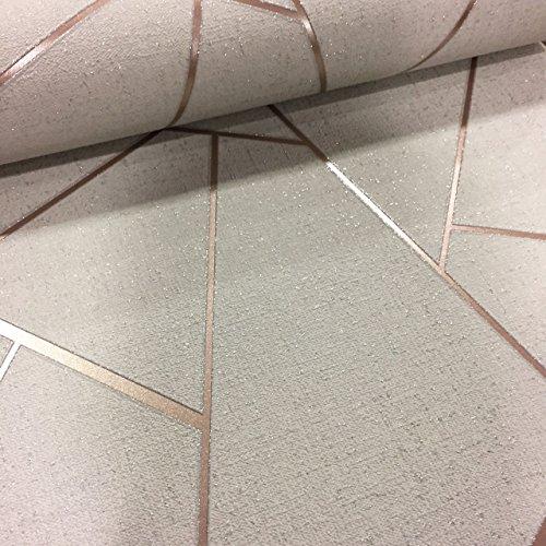 Quartz Fractal Wallpaper Beige and Rose Gold Fine Decor FD42282 ()