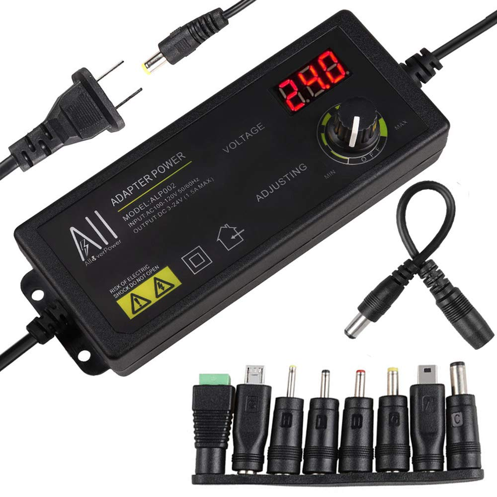 3V - 24V 1.5A 36W Adjustable DC Power Supply Kit Adapter Speed Control Volt Display with Variable 8 Plugs and 1 Polarity Reverse Cable
