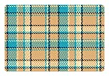 Ambesonne Checkered Pet Mat for Food and Water, Zigzag Patterned Lines Ancient Celtic Culture Inspired Fashion, Rectangle Non-Slip Rubber Mat for Dogs and Cats, Cream Pale Blue Dark Blue