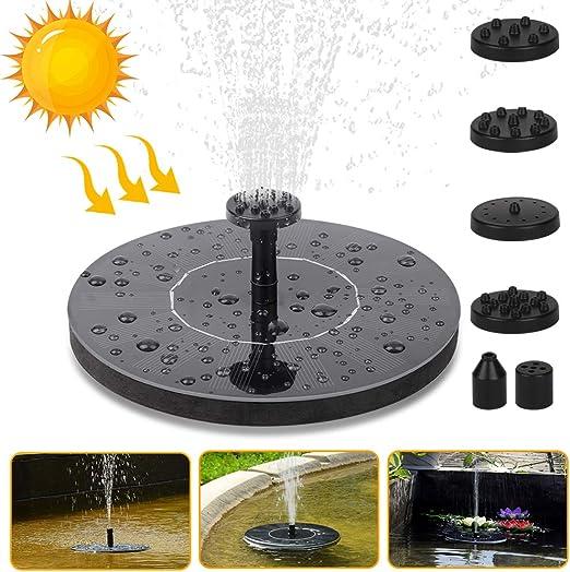 Vivibel Solar Fuente Bomba, Bomba de Flotante Kit Bomba Agua Sumergible Solar con 6 boquillas, Ideal para Pequeño Estanque, estanques, jardín, Piscina, (Negro Redondo): Amazon.es: Jardín
