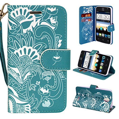 Elite Phone Covers - ZTE Prestige Case, - Customerfirst, Magnetic Leather Folio Flip Book Wallet Pouch Case Cover With Fold Up Kickstand and Detachable Wrist Strap For - ZTE Avid Plus (MetroPcs)(T-Mobile) (Teal Lotus)