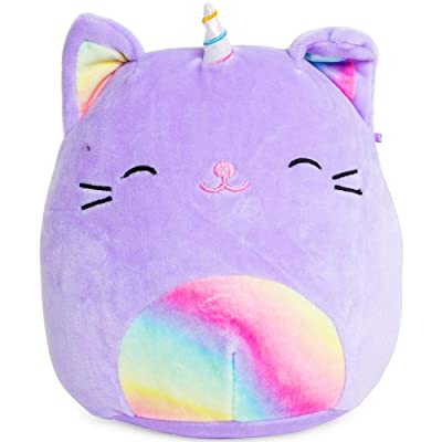 SQUISHMALLOWS Tabby Cat Unicorn Plush 8 inch Purple Rainbow: Toys & Games