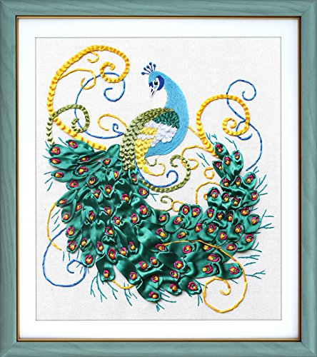 Ribbon embroidery Kit,Fanryn 3D Silk ribbon embroidery Peacock pattern design Cross Stitch Kit Embroidery for beginner DIY Handwork Home Decoration Wall Decor 60x65cm (No frame) (Designs Peacock Embroidery)