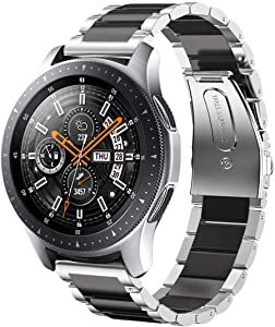 Wollpo Compatible Gear S3 Classic/Frontier Band, Samsung Galaxy 46mm Band, 22mm Solid Stainless Steel Replacement Band for Samsung Gear S3 Classic/Frontier Watch/46mm Galaxy Watch (3P Black Sliver)