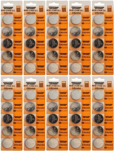 50 x CR2450 Lithium Coin Cell Batteries by Powertron