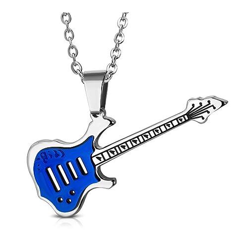 Acero inoxidable 2 tonos guitarra eléctrica instrumento musical encanto colgante: Amazon.es: Joyería