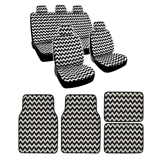 bdk-15-piece-white-chevron-new-design-low-back-seat-covers-and-carpet-floor-mats-complete-set