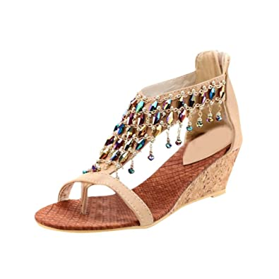 600c92f2d Image Unavailable. Image not available for. Color  showshoes New Summer  Fashion Handmade Beaded Womens Wedge Heels Thong Sandals Shoes ...