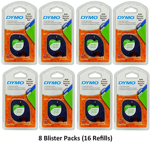 Dymo 10697 Self-Adhesive White Paper Labeling Tape for LetraTag (LT) Label Makers; 8 Blister Packs (16 Refills); Each Blister Pack contains Two 1/2