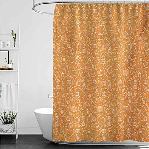 (home1love Waterproof Bathtub Curtain,Harvest Pattern with Pumpkin Leaves and Swirls on Orange Backdrop Halloween Inspired,Single stall Shower Curtain,W36x72L,Orange White )