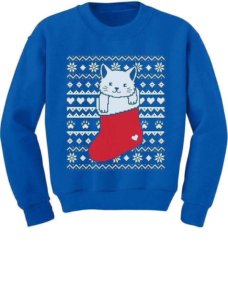 TeeStars - Cat in Stocking Kitty Ugly Christmas Sweater Toddler/Kids Sweatshirts GtPtPMagf5