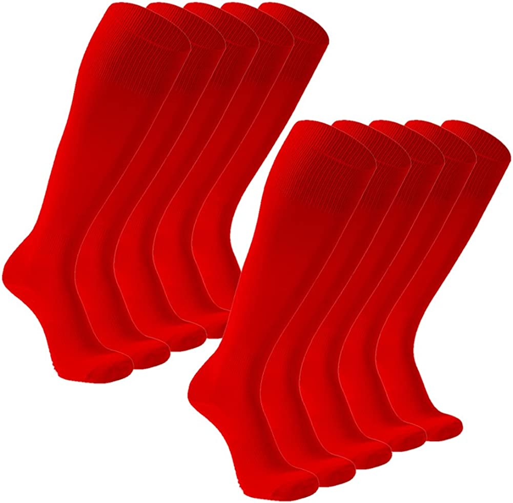 FOOTPLUS Unisex Over Knee High Solid Back to School Soccer Volleyball Socks 10 Pairs