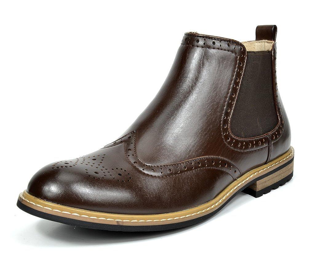 1abd5662457 Bruno Marc Men's Bergen-05 Dark Brown Leather Lined Chelsea Dress Ankle  Boots Size 9 M US