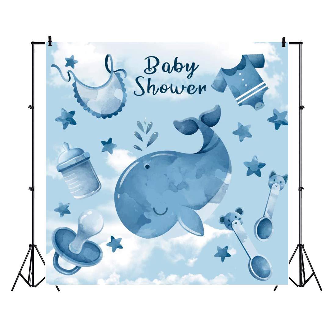 Cassisy 2,5x2,5m Vinilo Baby Shower Fondo de Fotografia Niño Baby Shower Bandera Ballena Estrellas Chupete Fondo de Pantalla Azul Telón de Fondo Photo ...