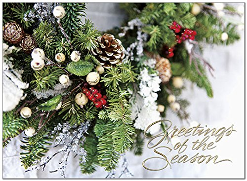 (25 Premium Holiday Cards - Seasonal Wreath with Gold Foil Embossing - 26 Gold Foil Lined Envelopes - Eco Friendly)