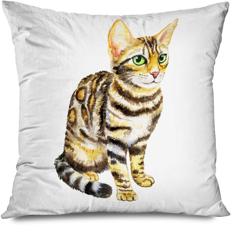 Ahawoso Throw Pillow Cover Square 18x18 Inches Watercolor Kitten Bengal Breed White Animals Wildlife Nature Drawing Active Bengali Characteristic Decorative Zipper Pillowcase Home Decor Cushion Case