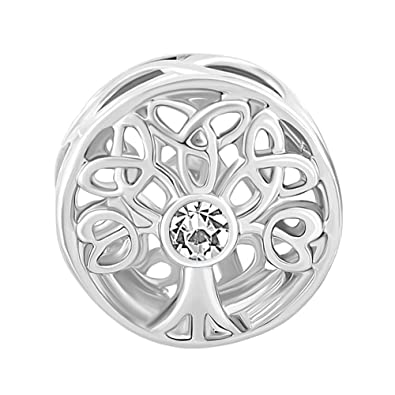 Sug Jasmin 925 Sterling Silver Jan-Dec Birthstone Family Tree Of Life Charm Birthday Beads For Bracelet