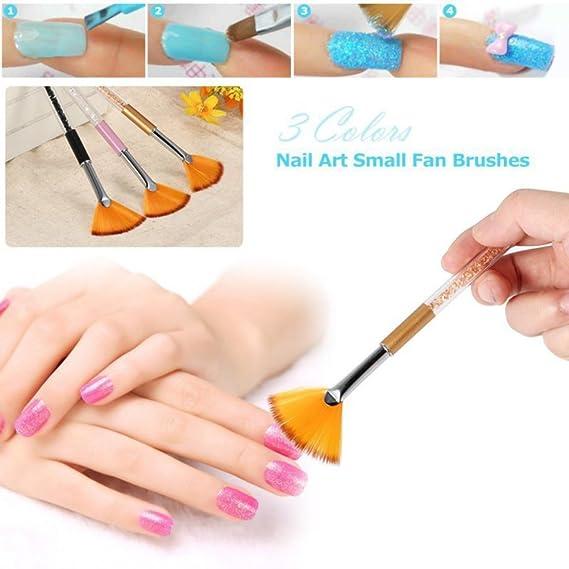 Moresave 1 Pc Nail Art Fan Brush Gel Pen Brush Acrylic Handle Tool