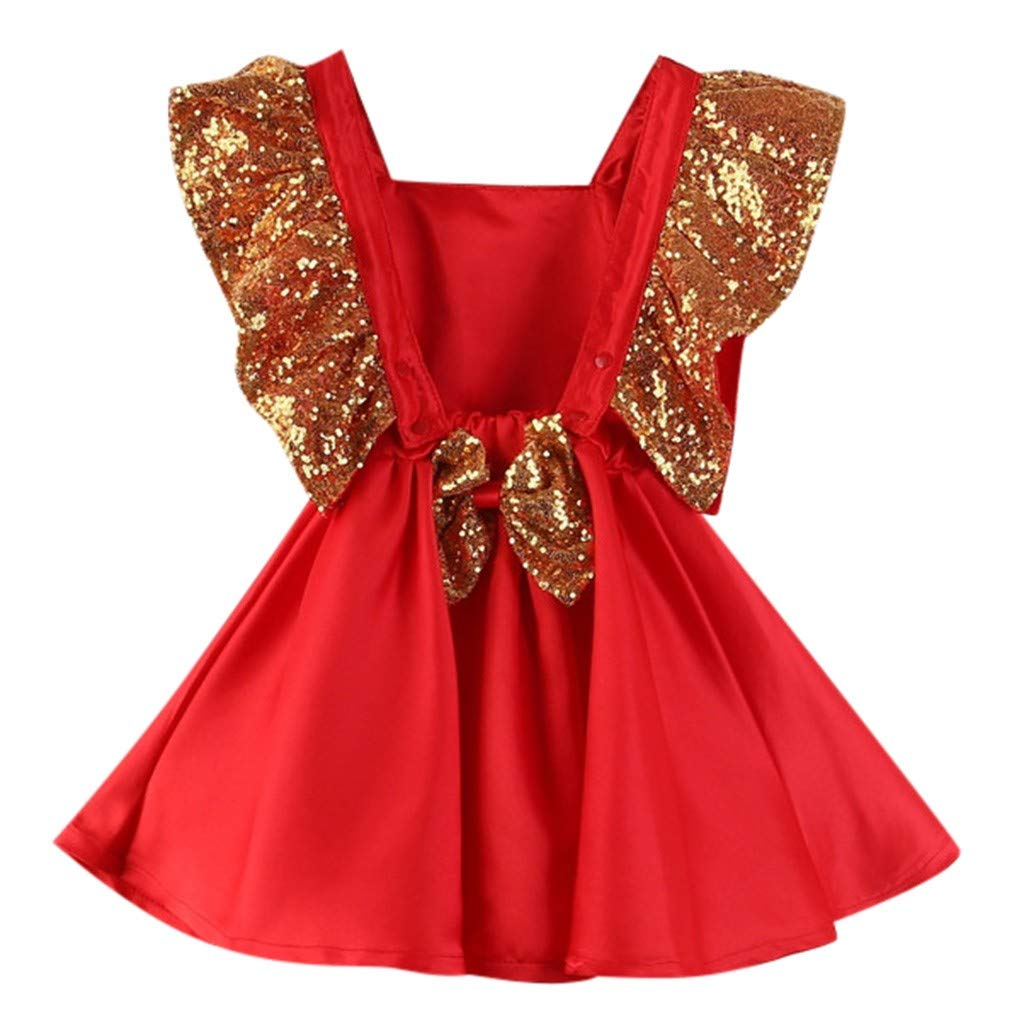 Baby Toddler Girls Wedding Birthday Dresses Gown 1-4 Years Old Kids Sleeveless Sequin Bowknot Princess Dress