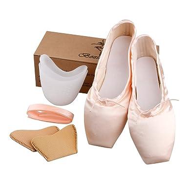 Zapatillas de Ballet para niñas/mujeres en color rosa con almohadillas para puntera y cintas, mujer, rosa, 39,5: Amazon.es: Deportes y aire libre