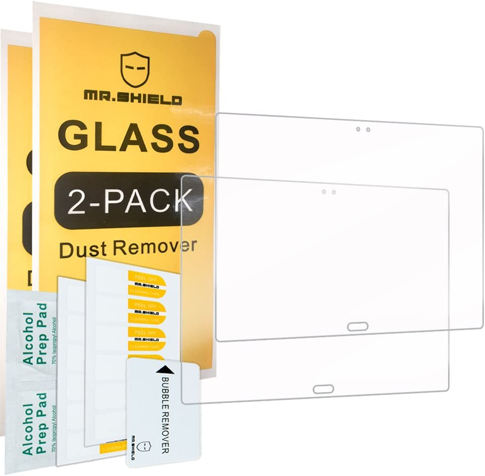 """[2-PACK]-Mr.Shield For Lenovo Tab 4 10 Plus (10 Inch) / Lenovo Tab 4 Plus 10"""" [Tempered Glass] Screen Protector [0.3mm Ultra Thin 9H Hardness 2.5D Round Edge] with Lifetime Replacement"""