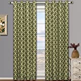 Cheap Meridian Green Grommet Blackout Window Curtain Drapes, Pair / Set of 2 Panels, 52×96 inches Each, by Royal Hotel