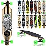 Terena® Longboard 105x24 Long Board 'The Owl' Skateboard Surfboard komplett medium Flex Longboards 00018(7 - 00018 - The Owl)