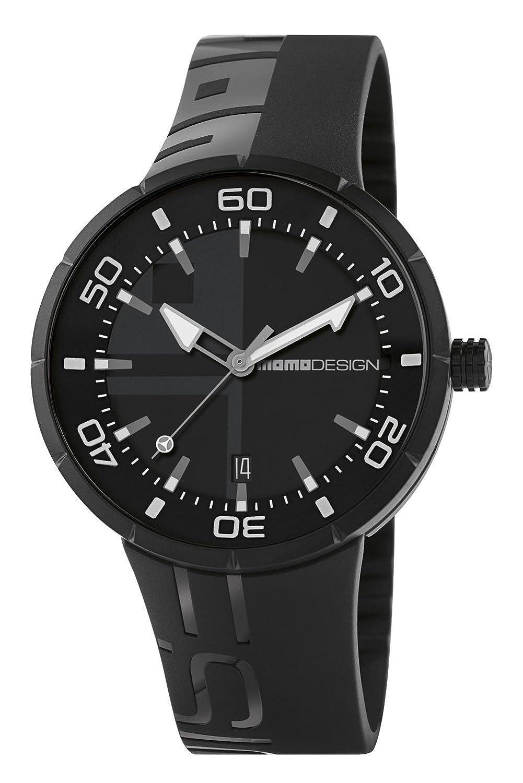 Momo Jet Black md2298bk-11 Herren Uhr mit Kautschuk-Armband Schwarz und Box aus Edelstahl in PVD Schwarz.