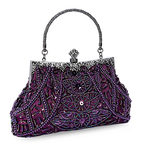 UBORSE Women's Vintage Beaded Sequined Evening Bag Wedding Party Handbag Clutch Purse Purple