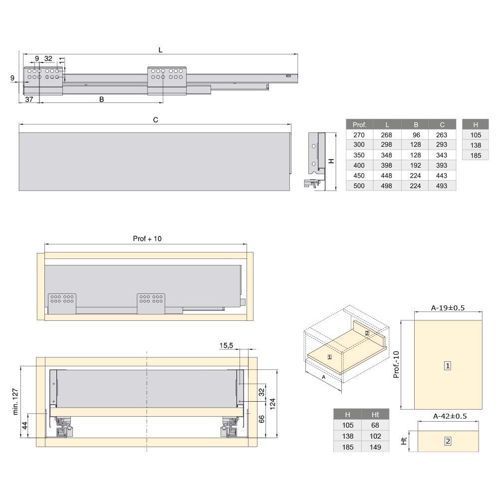 Blanco Altura 105mm y Profundidad 500mm Emuca Kit de caj/ón para Cocina o ba/ño con guias de extracci/ón Total y Cierre Suave