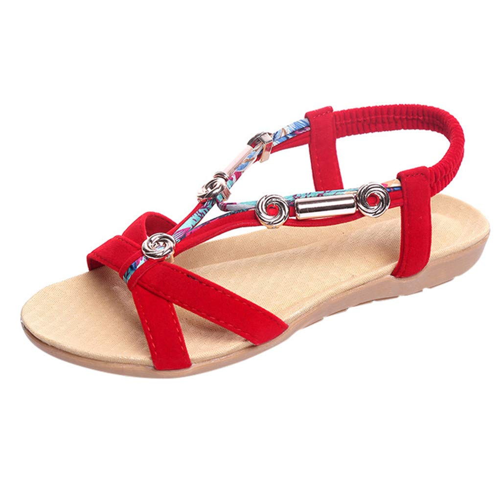 Women's Sandals Shoes Summer Elastic Shoes Classic Sneakers Refined Metal Shoes Bohemian Roman Sandals Size US:5.5-8.5 (8.5 M US, Red)