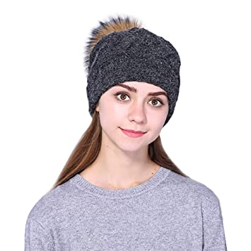 Womens Slouchy Winter Knit Beanie Hats Chunky Hat Bobble Hat Ski Cap Skull  Slouchy Caps Hat 02e633139d0