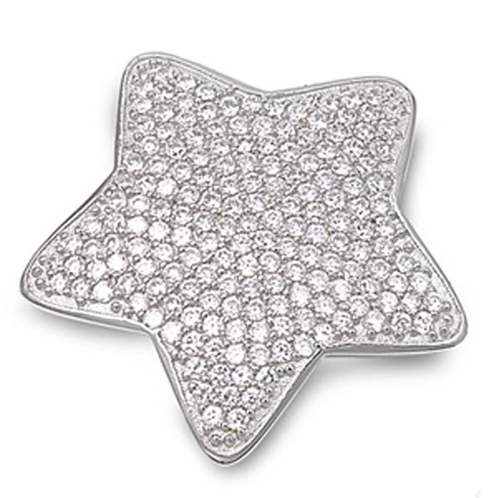Rounded Micro Pave Star Pendant Clear Simulated CZ .925 Sterling Silver Charm