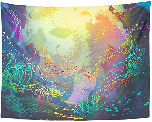 Emvency Tapestry Wall Hanging Underwater with Coral Reefs and Colorful Fishes Painting Polyester Fabric Home Decor for Living Room Bedroom Dorm 60×80 Inches