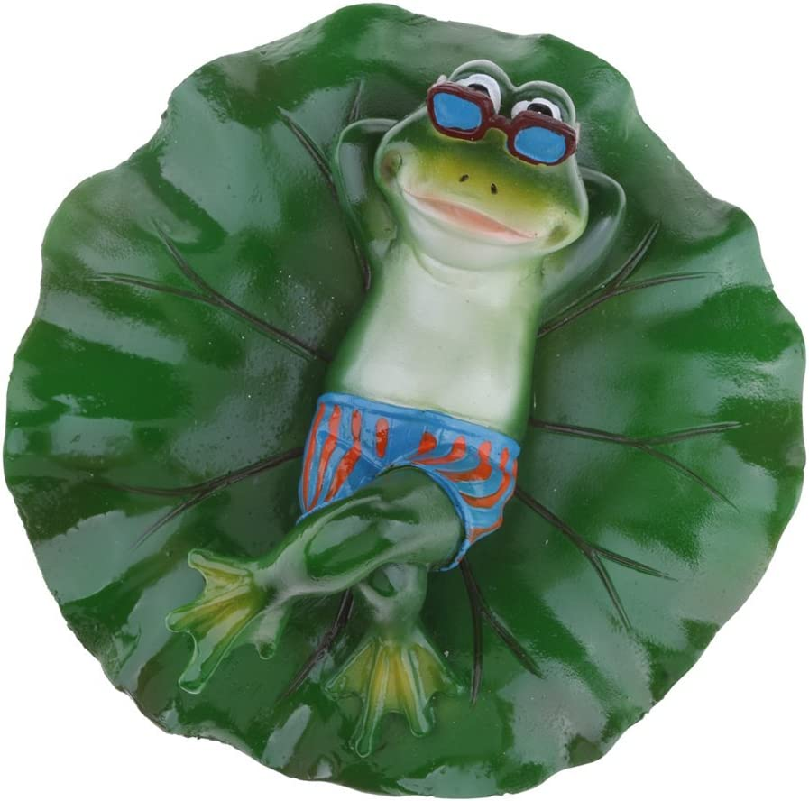 Joysiya Water Floating Lotus Leaf with Frog Ornament Figurine Statue Craft for Home Garden Pond Decoration Photo Prop Gift - Lying