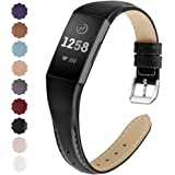 NANW Bands Compatible with Fitbit Charge 4 / Charge 3, Slim Genuine Leather Wristband Replacement Accessories Strap for…