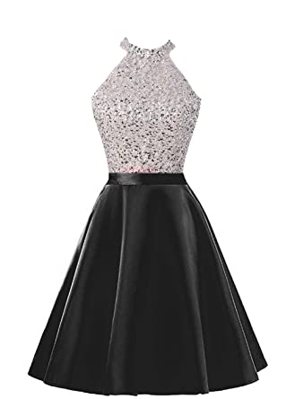 93ad0fcd6c56 HEIMO Women's Sequined Keyhole Back Homecoming Dresses Beaded Prom Gowns  Short H198 0 Black