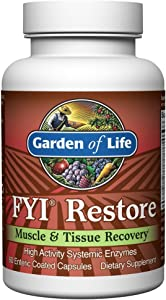 Garden of Life Systemic Enzymes - FYI Restore for Muscle and Tissue Recovery, 60 Capsules