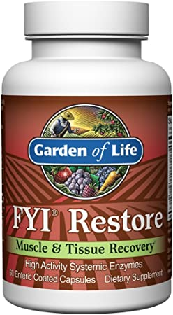 Garden of Life Systemic Enzymes - FYI Restore for Muscle and Tissue Recovery, 60 Count