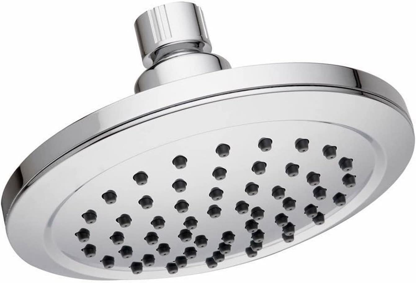 Hibbent 6-inch High Pressure Rainfall Showerhead – Angle-Adjustable Wall Mount Single-Setting Waterfall Shower Head with Powerful Rain Spray Shower Jets Massage – Polshed Chrome