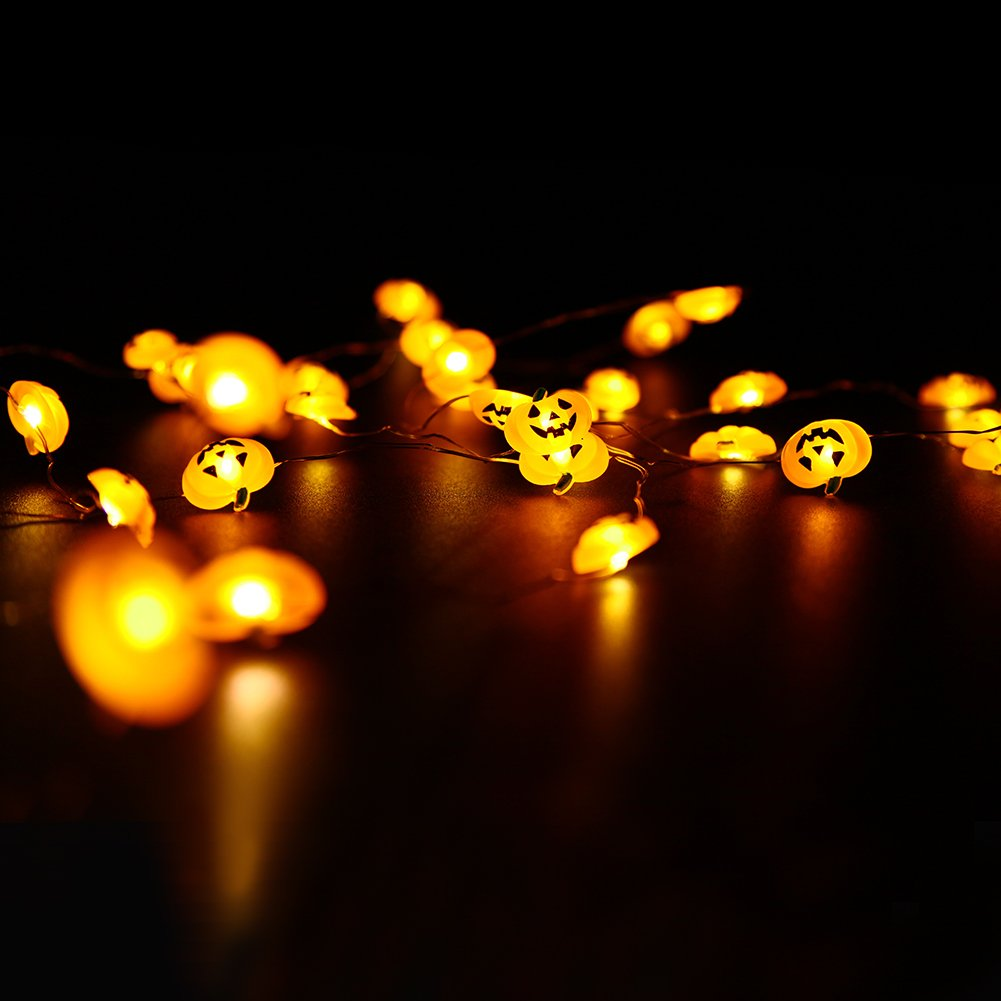 DROIEE Halloween String Lights,9.85ft with 40pcs Pumpkin Light for Indoor/Outdoor Halloween, Christmas, Holiday Party Decoration Dr-P106