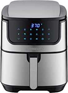 GoWISE USA 7-Quart Air Fryer & Dehydrator Max Steel XL- with Touchscreen Display with Stackable Dehydrating Racks with Preheat & Mute Functions + 100 Recipes (Stainless Steel)