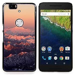 """Qstar Arte & diseño plástico duro Fundas Cover Cubre Hard Case Cover para Huawei Google Nexus 6P (Montaña Nevada Sunset"""")"""