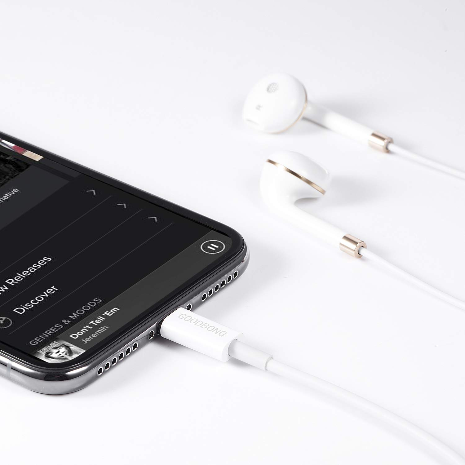 GOODBONG Headphones/Earbuds for iPhone/ipad/iPod, Stereo Sound in Earbuds and Built-in Mic and Volume Control White