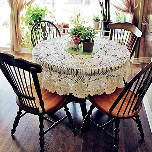 yazi Handmade Crochet Tablecloths Cotton Round Placemat Table Covering Doilies for Furniture Décor Beige Color 51inch Mother's Day Gift