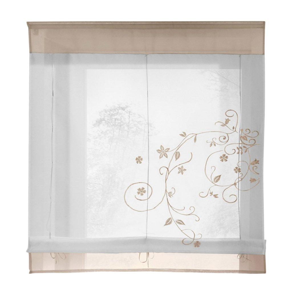 Blesiya Tende Liftable Romana Voile Tende Trasparenti Ricamo Floreale in Poliestere Home Decor - # 1 Grigio, 60x120cm, 60x120cm