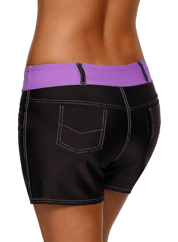 Dearlove Women Striped Waistband Swim Beach Board Shorts Swimsuit Bottoms
