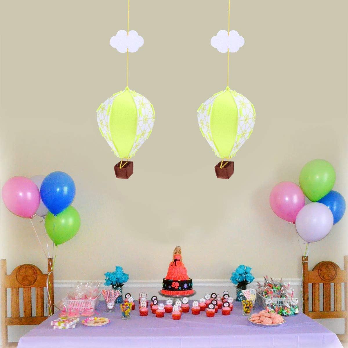 YeahiBaby 6pcs Bricolage Feutre Artisanat d/écorations de Ballons /à air Chaud Guirlande Suspendus d/écorations darbre de no/ël la f/ête danniversaire Chambre de b/éb/é Chambre denfant b/éb/é Douche Bl
