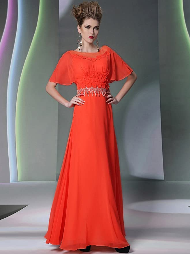 Remedios A-line Orange Prom Dresses With Sleeves with Flowers and Tassel,XXL: Amazon.co.uk: Clothing